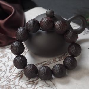 19mm小葉紫檀錘紋珠單圈手串