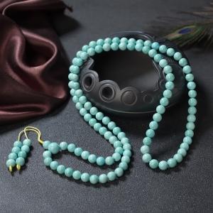 7.5mm中高瓷鐵線藍綠綠松石108佛珠