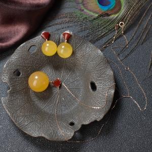 18K鸡油黄蜜蜡圆珠项链/耳坠套装