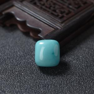 高瓷铁线蓝绿松石方形戒面