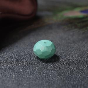 高瓷蓝绿绿松石刻面鼓珠