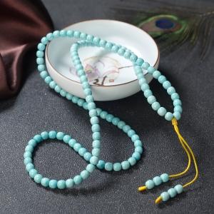 高瓷鐵線藍綠綠松石桶珠多圈手串