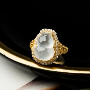 18K冰种翡翠福禄戒指