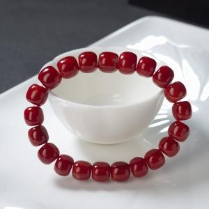 阿卡牛血红珊瑚桶珠单圈手串