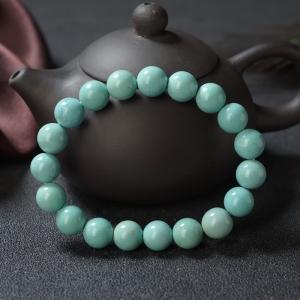 10mm中高瓷铁线蓝绿绿松石单圈手串