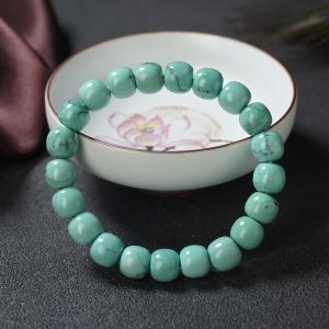 高瓷铁线蓝绿绿松石桶珠单圈手串
