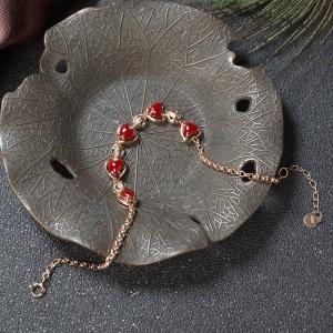 18K阿卡牛血红珊瑚心形手链