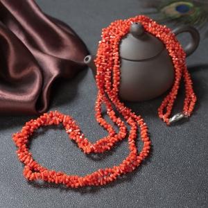 沙丁珊瑚随形两股项链