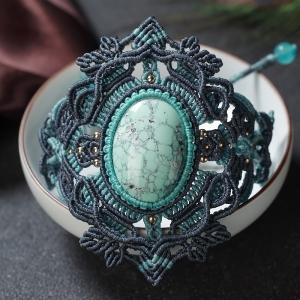 高瓷鐵線藍綠綠松石編織單圈手串