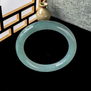 51mm糯冰种蓝绿翡翠圆镯