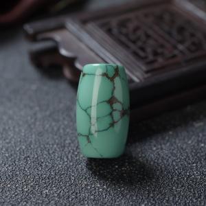 高瓷铁线绿色绿松石桶珠