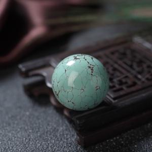 18.5mm高瓷铁线蓝绿绿松石圆珠
