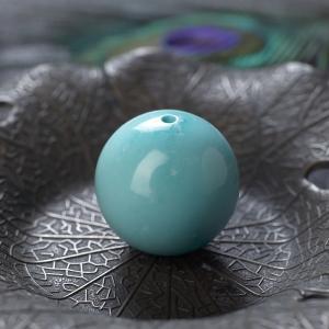 21.5mm中高瓷鐵線藍綠松石圓珠