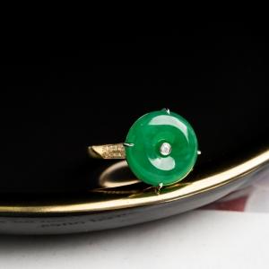 18K糯冰种翠绿翡翠平安扣戒指