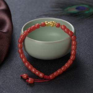 沙丁珊瑚桶珠单圈手串