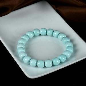 高瓷蓝色绿松石老形珠单圈手串