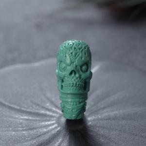 中高瓷蓝绿绿松石骷髅头三通