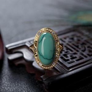 18K高瓷铁线绿色绿松石戒指