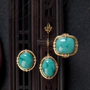 18K高瓷鐵線綠松石戒指/耳釘套裝