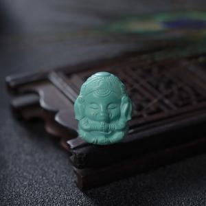 中高瓷蓝绿绿松石象神吊坠