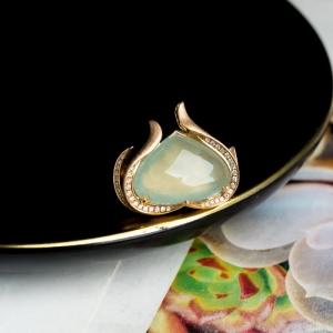 18K冰种浅绿翡翠戒指