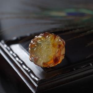 18K鸡油黄金绞蜜牡丹花戒指