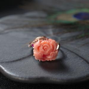 18KMISU珊瑚牡丹花戒指