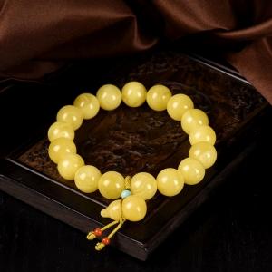 11mm白花蜜蜜蜡葫芦单圈手串