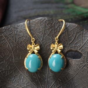 18K高瓷蓝绿松石耳环