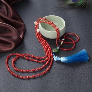 沙丁珊瑚毛衣链