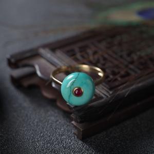 18K高瓷铁线蓝绿绿松石平安扣戒指
