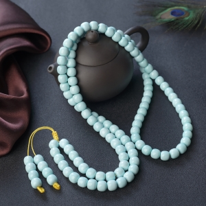 中高瓷铁线蓝绿绿松石桶珠多圈手串