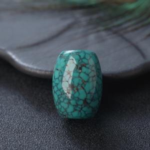 高瓷铁线蓝绿绿松石桶珠