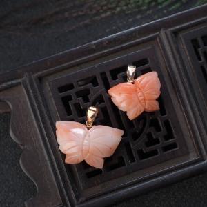 18KMISU珊瑚蝴蝶吊坠(两件)