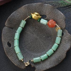 糯种浅绿翡翠桶珠编织手链