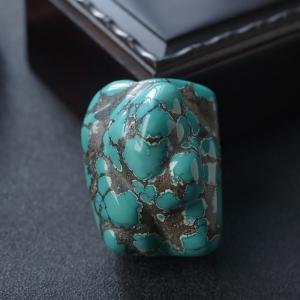 高瓷铁线蓝绿绿松石随形吊坠
