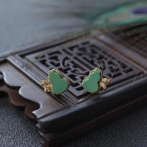 18K高瓷绿色绿松石葫芦耳钉