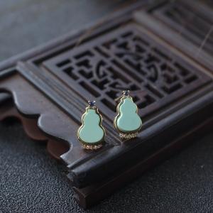 18K高瓷蓝绿绿松石葫芦耳钉