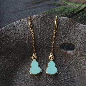 18K高瓷蓝绿松石葫芦耳环