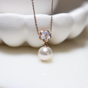 18k海水akoya白色珍珠项链