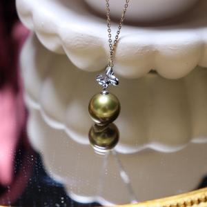 18k海水古铜绿珍珠吊坠