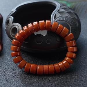 柿子红南红车轮珠单圈手串