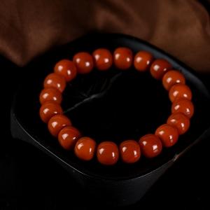柿子红南红老形珠单圈手串