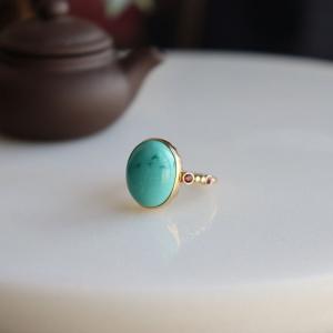 18k高瓷蓝绿绿松石戒指