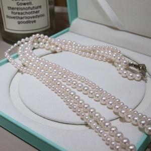 海水粉白色珍珠多圈项链