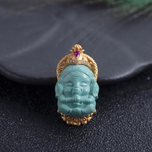 18K中高瓷蓝绿绿松石象神吊坠