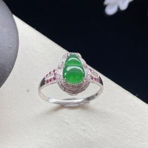 18K冰种浅绿翡翠葫芦戒指