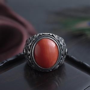银镶MOMO珊瑚戒指
