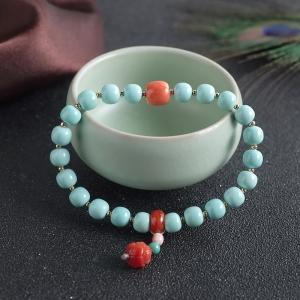 中高瓷铁线蓝绿绿松石桶珠单圈手串