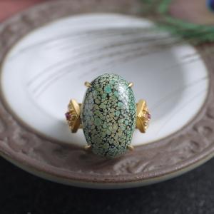 18K中高瓷铁线绿松石戒指